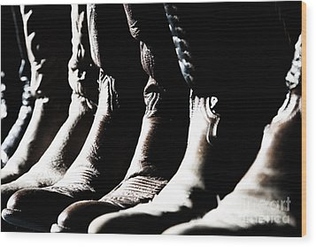 Wood Print featuring the photograph Line Of Cowboy Boots In Sunlight by Lincoln Rogers