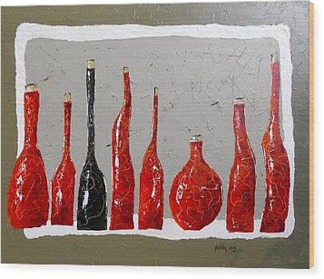 Line Of Wine Wood Print