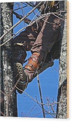 Lineman Wood Print by Denise Romano