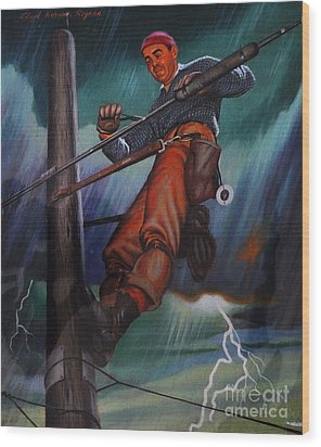 Lineman In Storm Wood Print