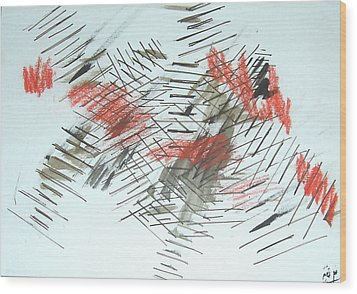 Wood Print featuring the painting Lines In Movement by Esther Newman-Cohen