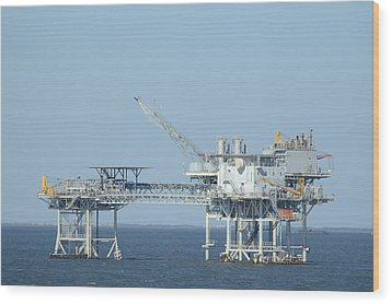 Linked Oil Platforms Wood Print by Bradford Martin