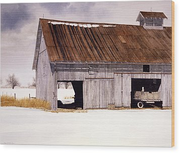 Wood Print featuring the painting Lin's Barn by Tom Wooldridge