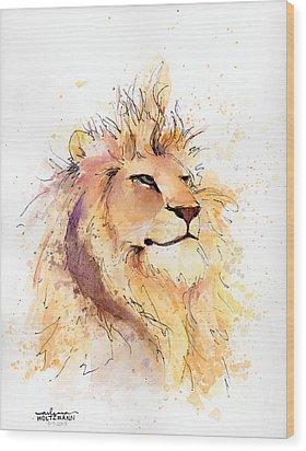 Lion 3 Wood Print by Arleana Holtzmann