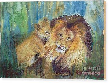 Lion And Cub -2 Wood Print