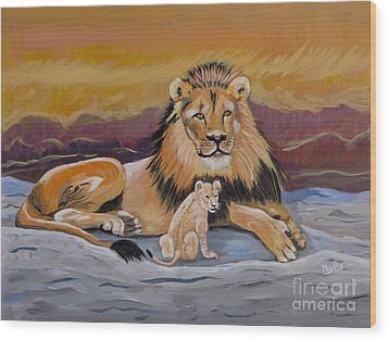Wood Print featuring the painting Lion And Cub by Phyllis Kaltenbach