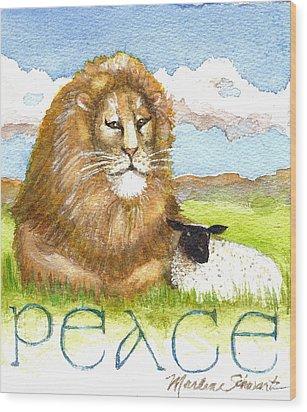 Lion And Lamb - Peace  Wood Print