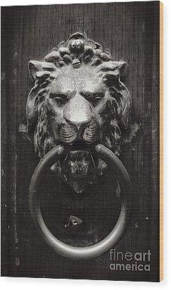 Lion Door Knocker Wood Print by Carol Groenen