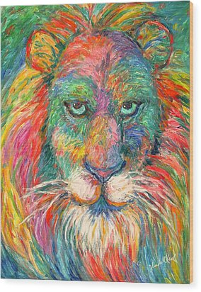 Lion Explosion Wood Print by Kendall Kessler