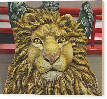 Lion Face Guitar Wood Print by Cynthia Snyder
