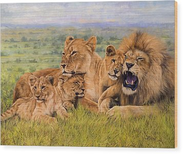 Lion Family Wood Print by David Stribbling