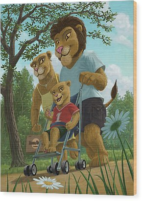 Lion Family In Park Wood Print by Martin Davey