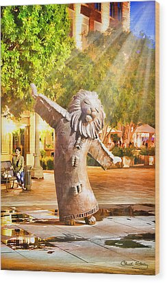 Lion Fountain Wood Print