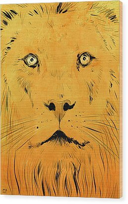 Lion Wood Print by Giuseppe Cristiano