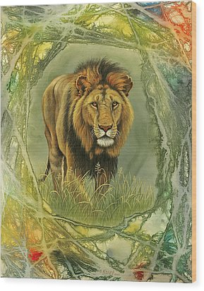 Lion In Abstract Wood Print by Paul Krapf
