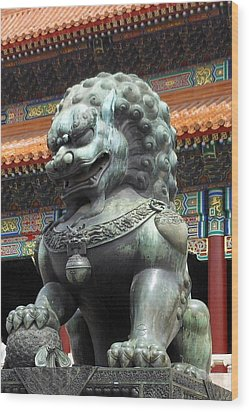 Lion In Forbidden City Wood Print by Kay Gilley