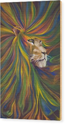 Lion Wood Print by Kd Neeley