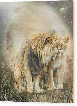 Lion Kiss Wood Print by Carol Cavalaris