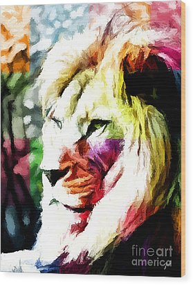 Lion - Leone Wood Print by Ze  Di