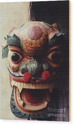 Lion Mask For Chinese New Year Wood Print by Anna Lisa Yoder