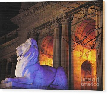 Lion Nyc Public Library Wood Print