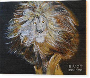 Wood Print featuring the painting Lion Of Judah by Amanda Dinan