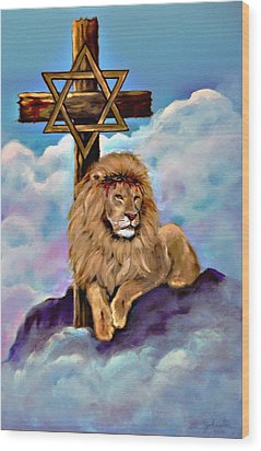 Lion Of Judah At The Cross Wood Print by Bob and Nadine Johnston
