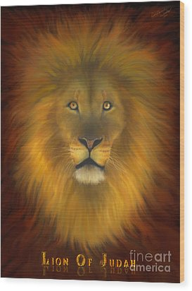 Lion Of Judah Fire In His Eyes 2 Wood Print by Constance Woods