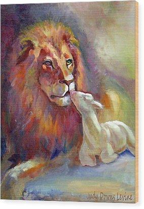 Lion Of Judah Lamb Of God Wood Print by Judy Downs