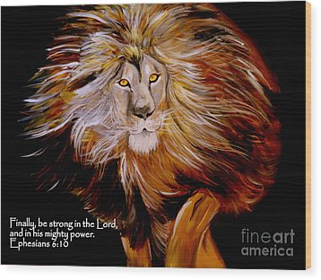 Lion Of Judah Strength Wood Print