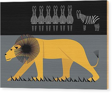 Lion On The Loose Wood Print