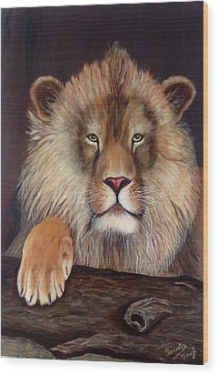 Wood Print featuring the painting Lion by Renate Voigt