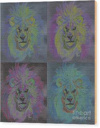 Lion X 4 Color  By Jrr Wood Print by First Star Art