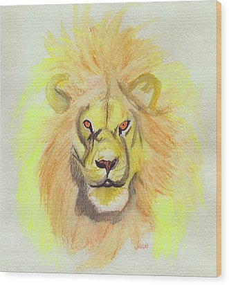 Lion Yellow Wood Print by First Star Art
