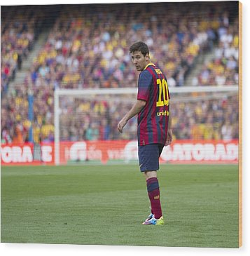 Wood Print featuring the photograph Lionel Messi by Nathan Rupert