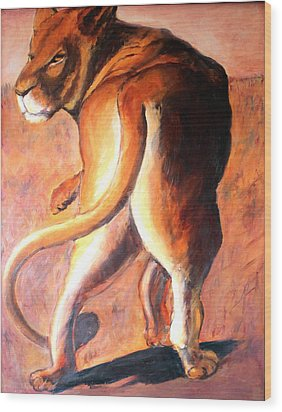 Wood Print featuring the painting Lioness by Rosemarie Hakim