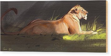 Lioness Sketch Wood Print by Aaron Blaise