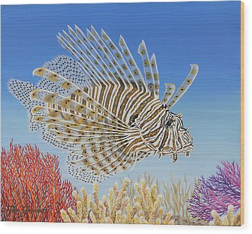 Lionfish And Coral Wood Print by Jane Girardot