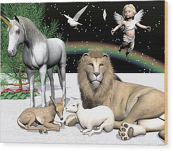 Lions And Lamb Wood Print by Michele Wilson