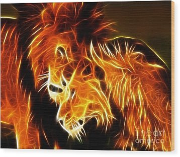 Lions In Love Wood Print by Pamela Johnson