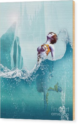 Wood Print featuring the digital art Liquid Fantasy by Sandra Bauser Digital Art