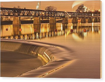Liquid Gold - The 21st Street Bridge  Wood Print