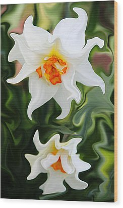 Liquid Narcissus Wood Print by Mary Burr