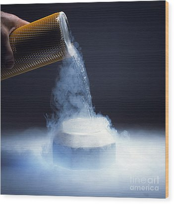 Liquid Nitrogen Being Poured Wood Print by Charles D Winters