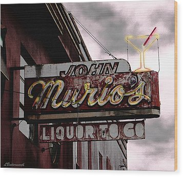 Liquor To Go Wood Print by Larry Butterworth