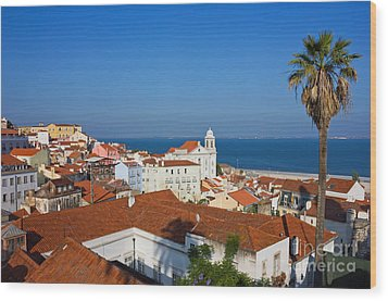Lisbon Alfama Panoramic View Toward The River Wood Print by Kiril Stanchev