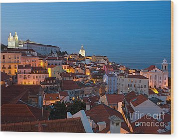 Lisbon City Lights Panoramic Alfama View Wood Print by Kiril Stanchev