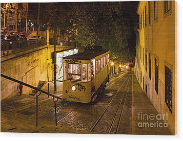 Lisbon Gloria Funicular Night Shot Wood Print by Kiril Stanchev