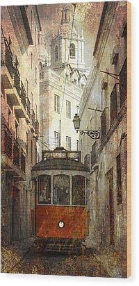 Lisbon Streetcar Wood Print by Daniel Hagerman
