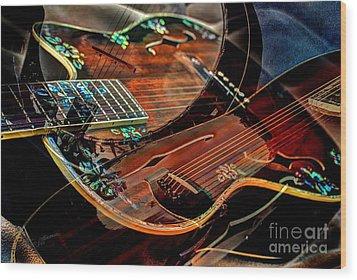 Listen To The Music Digital Guitar Art By Steven Langston Wood Print by Steven Lebron Langston